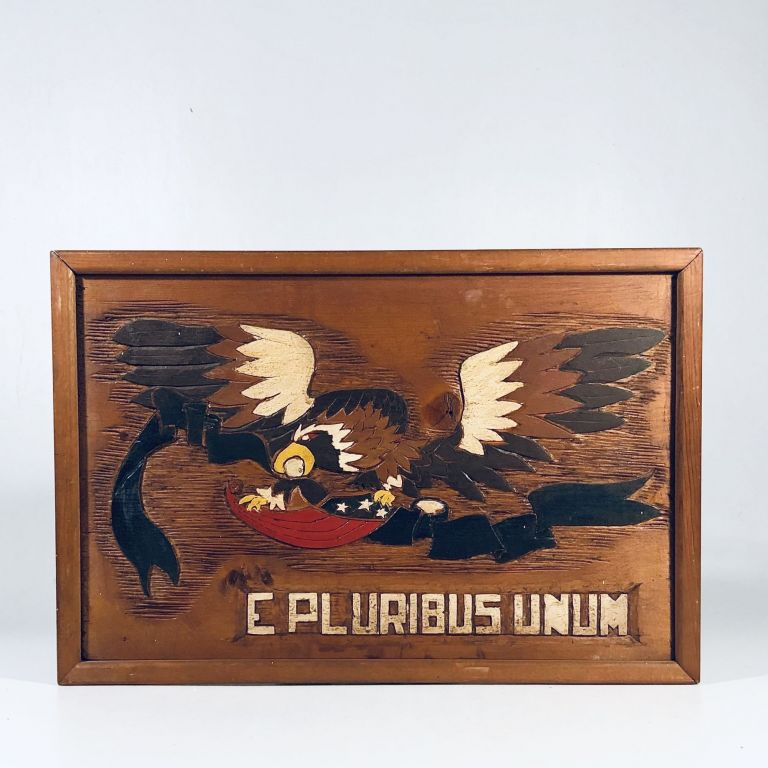 Beautiful c.1970s Hand-Carved Patriotic Eagle carrying the U.S. Stars and Stripes Shield in Flight