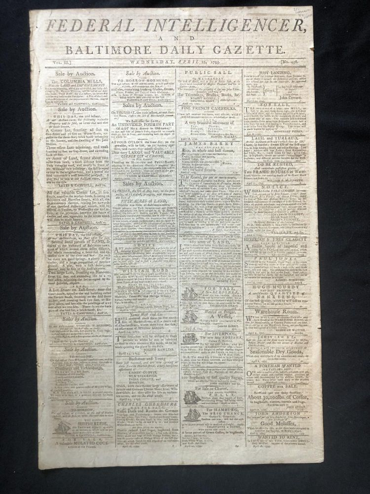 1795 newspaper GEORGE WASHINGTON SIGNS ACT for CUSTOMS LAWS along COAST OF MAINE. Very Early Maine History - 18th Century.