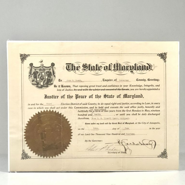 1913 Eastern Shore of Maryland Political Appointment Boldly Signed by Governor Phillips Lee Goldsborough