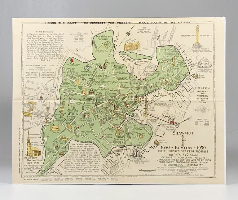 1928 Illustrated Pictorial Map of Boston Massachusetts, published for the Boston Tricentennial. Shawmut: Boston, Three Hundred Years of Progess.
