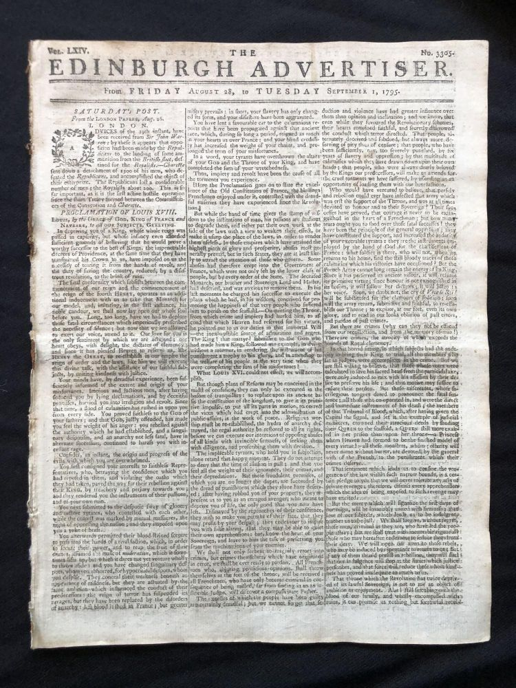 1795 newspaper LOUIS XVIII DECLARES himself KING of FRANCE in FRENCH REVOLUTION, with a complete front-page printing of the Verona Declaration