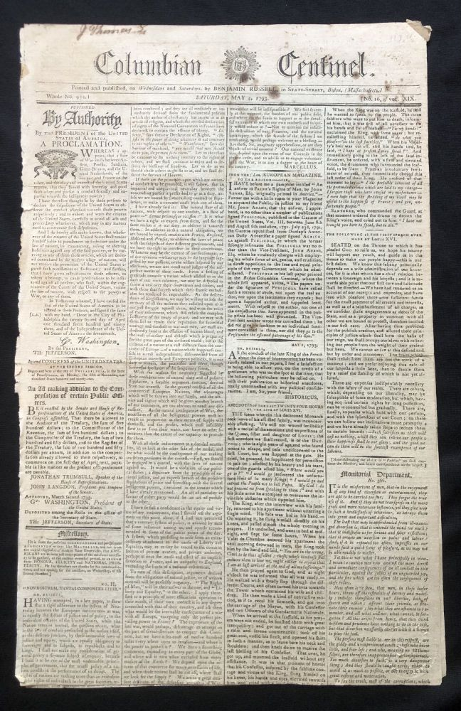 """1793 newspaper GEORGE WASHINGTON PROCLAMATION of Neutrality in NAPOLEONIC WARS and the Execution of French King Louis XVI by Beheading at the Guillotine. """"I die perfectly innocent of all the pretended crimes which are laid to my charge"""" - Louis XVI before his execution."""