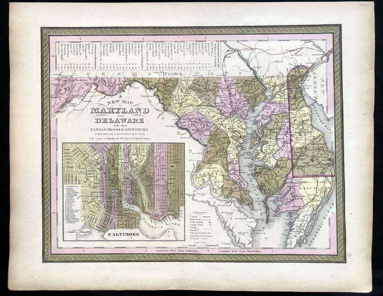 A New Map of Maryland and Delaware with their Canals, Roads & Distances. 1850 Hand-Colored Map of Maryland, a Chart of Chesapeake Bay Steamboat Routes.