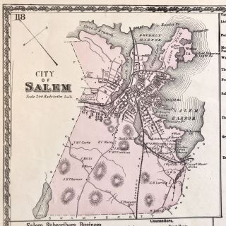 1877 Hand-Colored Street Map of Salem, Massachusetts, Featuring Building Footprints & Property Owner Names