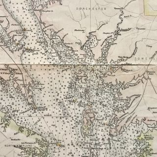 RARE 1893 Hand-Colored Map of Chesapeake Bay, Featuring Lighthouses of Maryland & Virginia