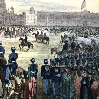 1856 Hand-Colored Print of GENERAL WINFIELD SCOTT Entering MEXICO CITY during the Mexican American War