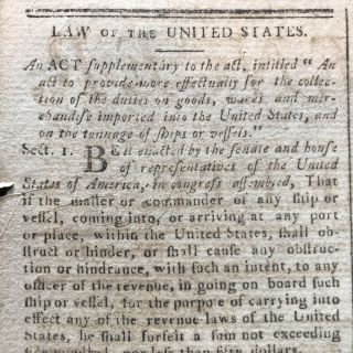 1795 newspaper GEORGE WASHINGTON SIGNS ACT for CUSTOMS LAWS along COAST OF MAINE