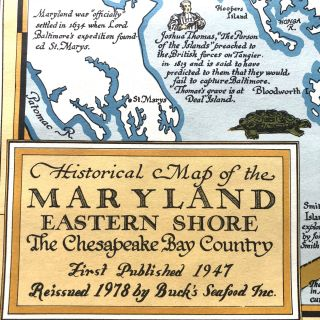 Historical Map of the Maryland Eastern Shore: The Chesapeake Bay Country