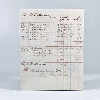 1886 Manuscript Account Ledger of SAMUEL HARRISON of Talbot County, Maryland with ALEX BROWN &...