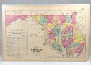 Hand-Colored Map of Maryland and Delaware during Reconstruction, with a Long List of now Defunct...