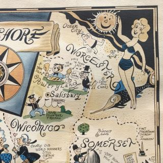 c. 1950s Richard Yardley Pictorial Map of the Eastern Shore of Maryland