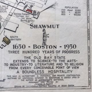 1928 Illustrated Pictorial Map of Boston Massachusetts, published for the Boston Tricentennial