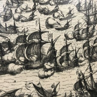 1616 Copperplate Engraving of the 1588 Defeat of the Spanish Armada