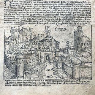 1493 Single Illustrated Leaf from the MEDIEVAL NUREMBERG CHRONICLE Incunabula