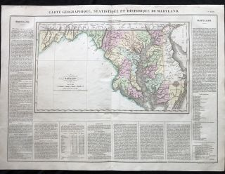BEAUTIFUL Hand-Colored 1825 French Map of Maryland, with a List of Prominent Chesapeake Bay...