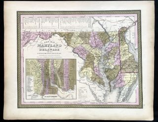 A New Map of Maryland and Delaware with their Canals, Roads & Distances. 1850 Hand-Colored Map of...