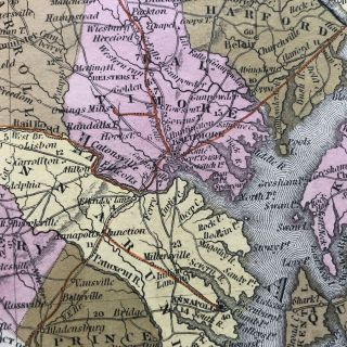 A New Map of Maryland and Delaware with their Canals, Roads & Distances
